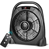 air choice Remote Floor Fan - 12 Inch Quiet Table Fan with Adjustable Speeds & Automatic Shutoff Timer, Sleep & Powerful Modes, Portable Box Fan for Home Bedroom Office