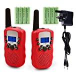 Walkie Talkies, Upgrow 2pcs Kids Walkie Talkie Children Walky Talky PMR446MHz 0.5W 8 Channels Rechargeable 2 Way Radio for Children Kids (Red)