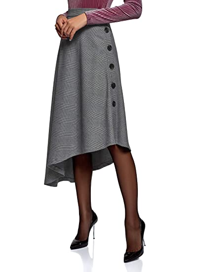 oodji Ultra Mujer Falda Midi con Parte Inferior Asimétrica: Amazon ...