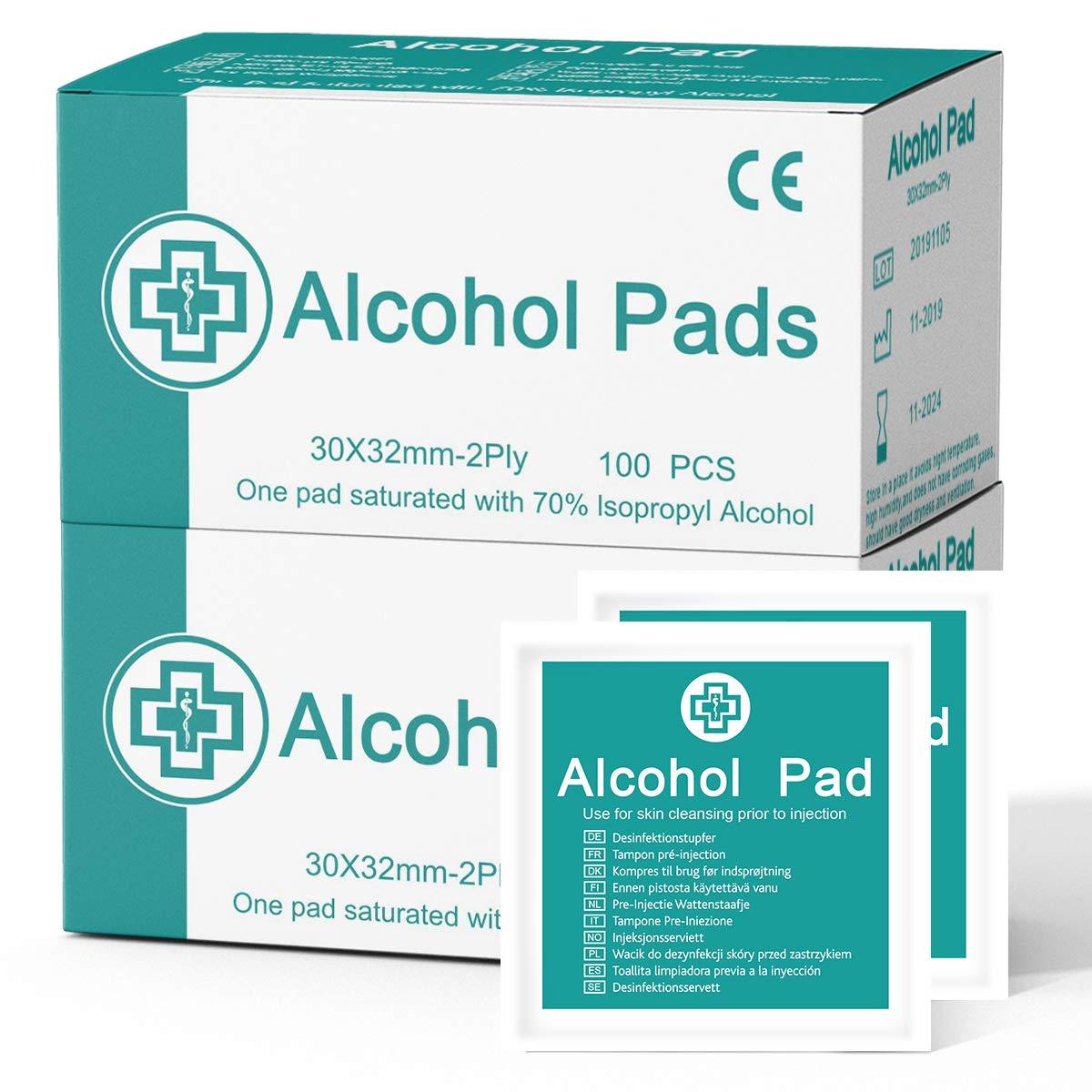 Einweg Einzeln verpackte Box Janolia Alkohol Pad 100 St/ück 2 Boxen leicht zu tragen,