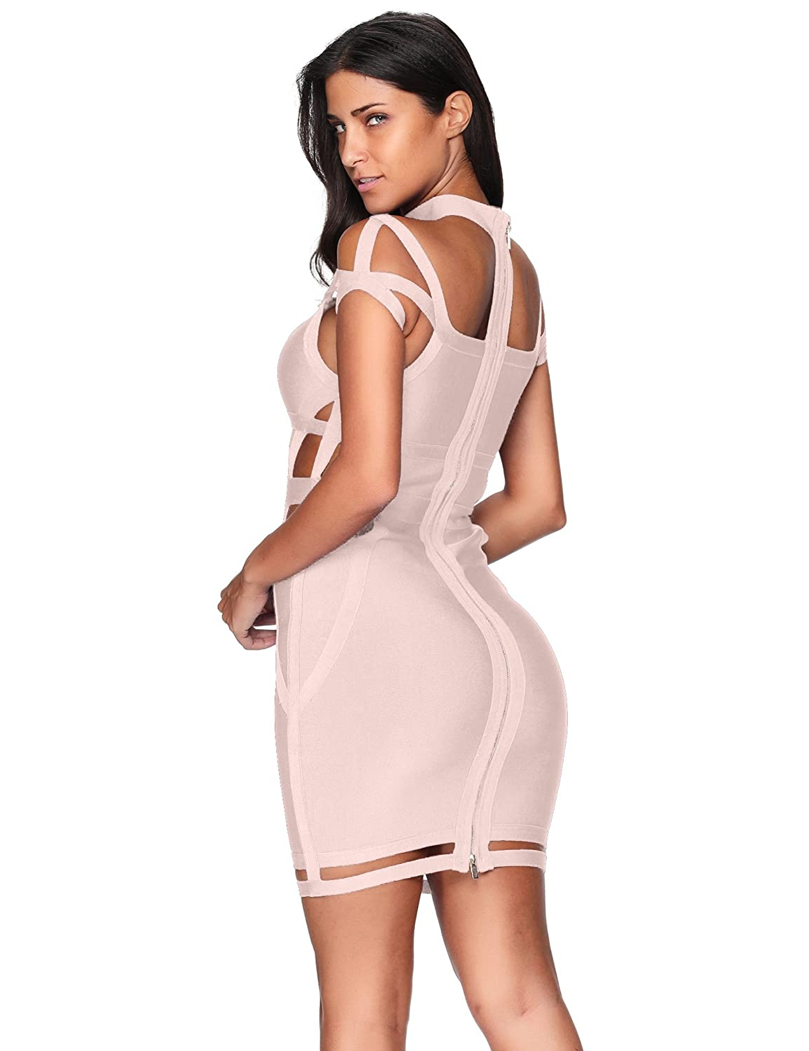 21286b7bb865 Amazon.com: Meilun Women Rayon Off The Shoulder Cut Out Bandage Bodycon  Party Dress: Clothing