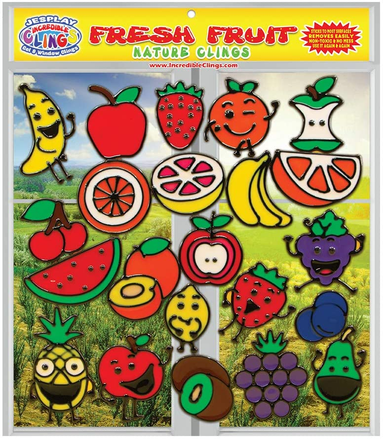 JesPlay Fresh Fruit Gel Clings - Flexible Glass Window Clings for Kids and Adults - Banana, Apple, Strawberry, Cherry and More Gel Decals - Home, Airplane, Classroom, Nursery Decoration