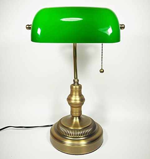 Bankers Lamp, Brass Base, Handmade Green Glass Shade, Antique Style Desk  Lamps For