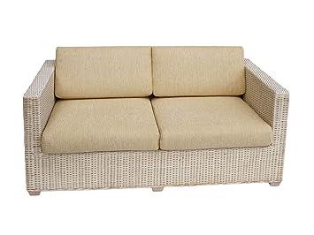 2 Sitzer Rattan Sofa Loungesofa Cubus Weiss Mit Sitz Und