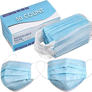 Disposable Face Mask - Pack of 50 - Blue