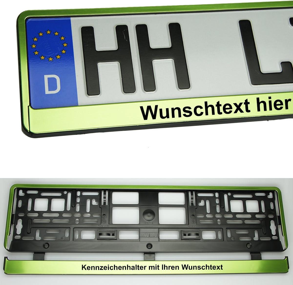 Moto 2x Kennzeichenhalterung Grün Metalik Mit Wunschtext Kennzeichenhalter Kennzeichenrahmen Neu Auto