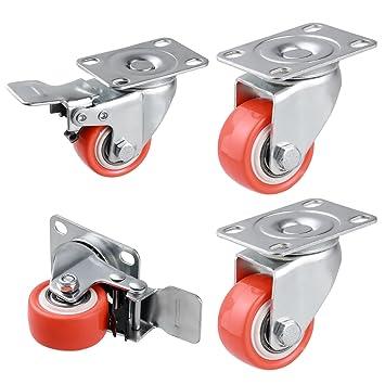 Homdox Ruedas Giratorias para Muebles Set de 4 Ruedas de Repuesto Ruedas para sillas de Oficina (2 sin Freno 2 con freno) 1.5inch Naranja: Amazon.es: ...