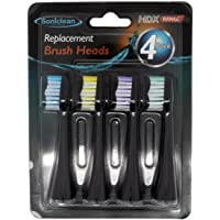 Soniclean Platinum HDX Replacement Toothbrush Sonic Head, Black, Pack of 4