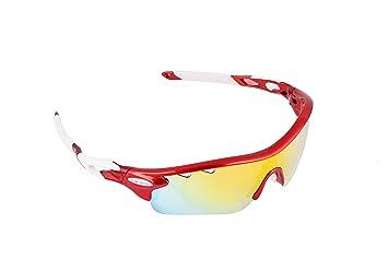 Gafas ciclismo polarizadas con 5 lentes intercambiables UV 400. Gafas deportivas, Running trail running, ciclismo BTT, para Hombre y Mujer (Rojo): ...