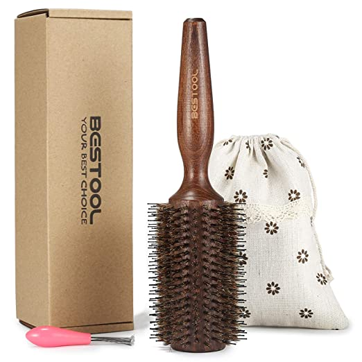 BESTOOL Round Brush, Boar Bristle Round Hair Brush with Large Wooden Barrel, Styling Brush for Women, Men's Wet/Dry Hair Blow Drying, Best for Long Thick Normal Hair Adding Volume and Shine