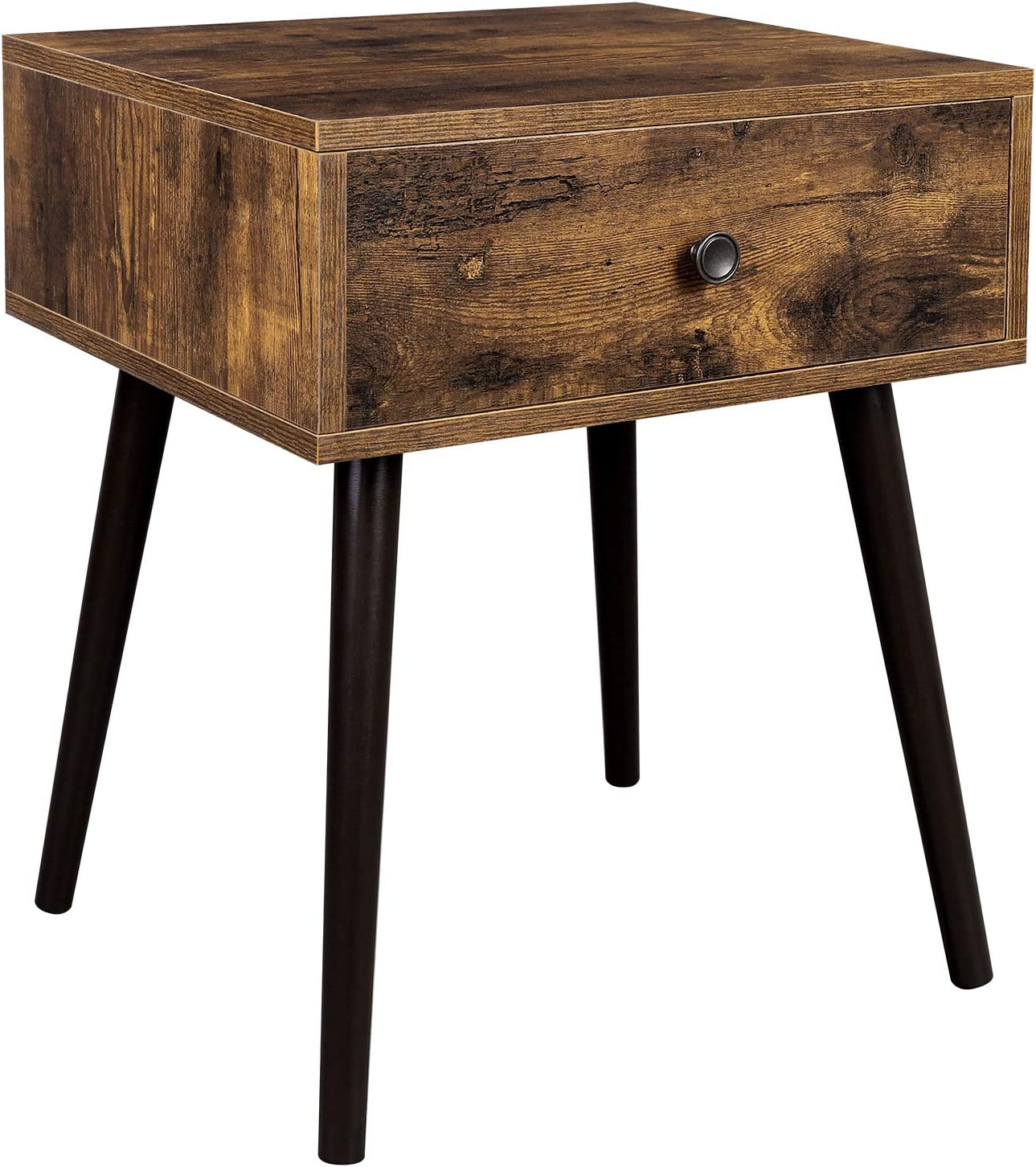 VASAGLE Nightstand, Sofa Side Table, End Table with a Drawer and Tapered Legs, Retro Style, for Bedroom, Living Room, Rustic Brown ULET176B01
