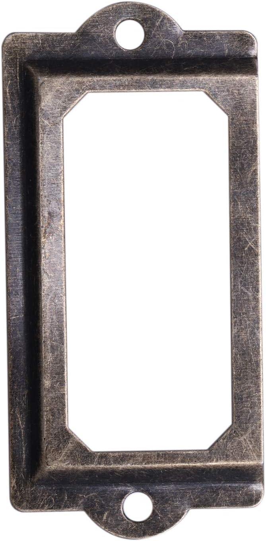 XZANTE 30pcs Cadre etiquette de Nom Porte Poignee Cadre Metal Bronze Retro Vintage Acienne Decoration Porte Meuble Tiroir Vis