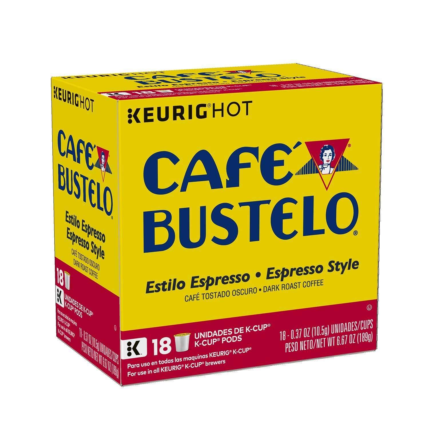 Café Bustelo Espresso Style K-Cup Pods for Keurig K-Cup Brewers, Dark Roast Coffee, 18 Count (Pack of 4)