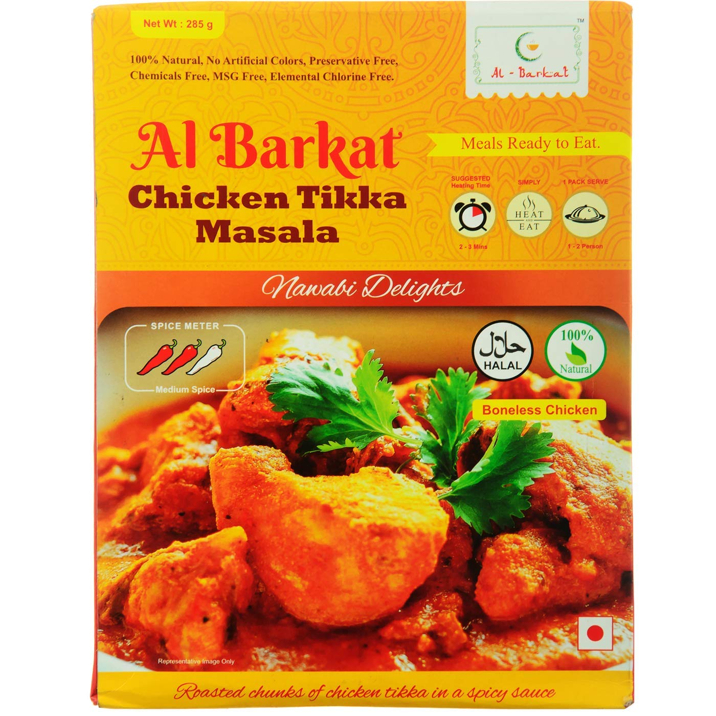 5c71eb7d7f10 AL BARKAT Ready to Eat Chicken Tikka Curry Masala - Pack of 2 (2 X 285g)   Amazon.in  Grocery   Gourmet Foods