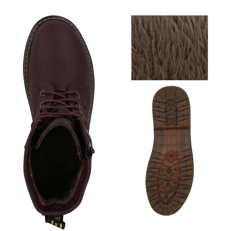 Stiefelparadies Unisex Damen Profilsohle Herren Stiefeletten Worker Boots Profilsohle Damen Flandell Dunkelrot Zipper e0e8c9