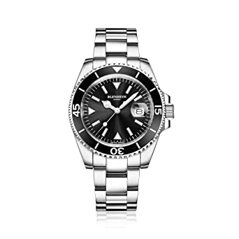 Blenheim London® Reloj Navegador Luminoso de hombre, Cristal de Zafiro, Resistente al Agua, Esfera Negra.: Amazon.es: Relojes