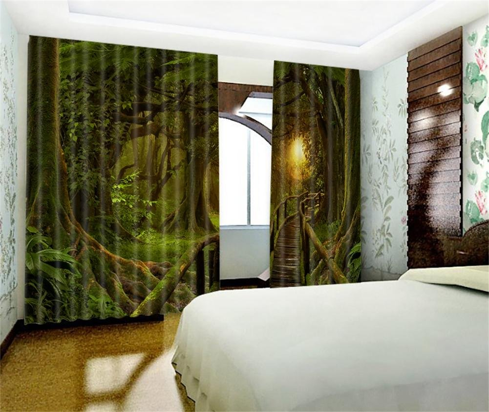 Vorhänge 3D dunkelgrün Wald Polyester Stoffe drapieren Blackout ...