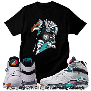 e8cb6063275 Custom T Shirt Matching Style of Air Jordan 8 South Beach JD 8-5-2 at  Amazon Men s Clothing store