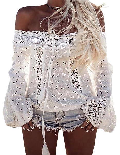 Boutiquefeel Camiseta Casual de Hueco sin Hombros con Encaje Top Blusa para Mujer