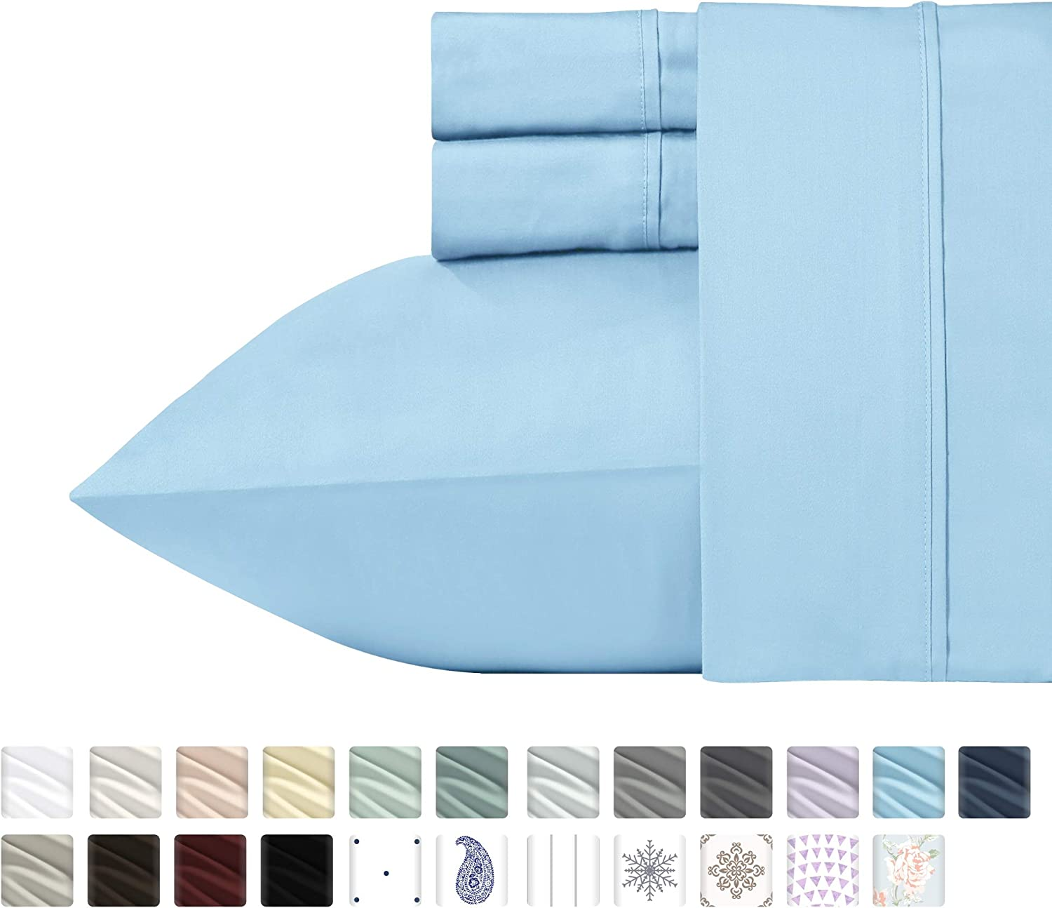 California Design Den 400 Thread Count 100% Cotton Sheet Set, Blue Full Sheets 4 Piece Set, Long-Staple Combed Pure Natural Cotton Bedsheets, Soft & Silky Sateen Weave