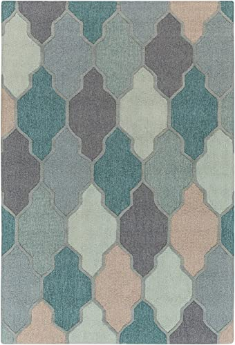 Monteview 9' x 13' Rectangle Transitional 100 Wool Medium Gray/Charcoal/Sage/Teal/Sea Foam/Taupe Area Rug