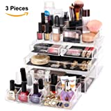 MelodySusie® Large Acrylic Makeup Organizer - A Set of 3 Pieces Transparent Modern Jewelry and Cosmetic Storage / The Best Makeup Holder for All of Your Cosmetics, Jewelries, Nail Polishes etc.