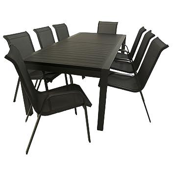 Conjunto muebles de exterior | Mesa jardín grande, extensible de 200 ...