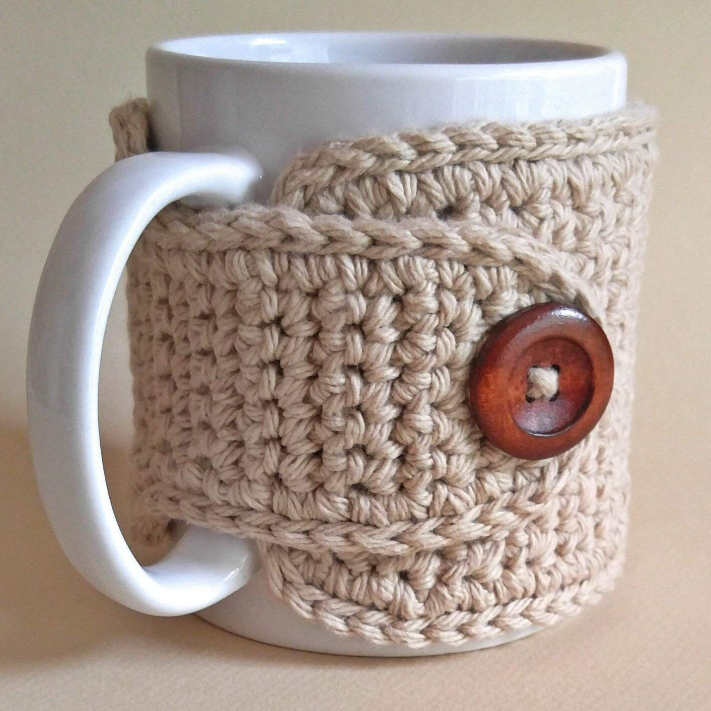 Amazon.com: Tea Mug Cozy Cotton Beige: Handmade