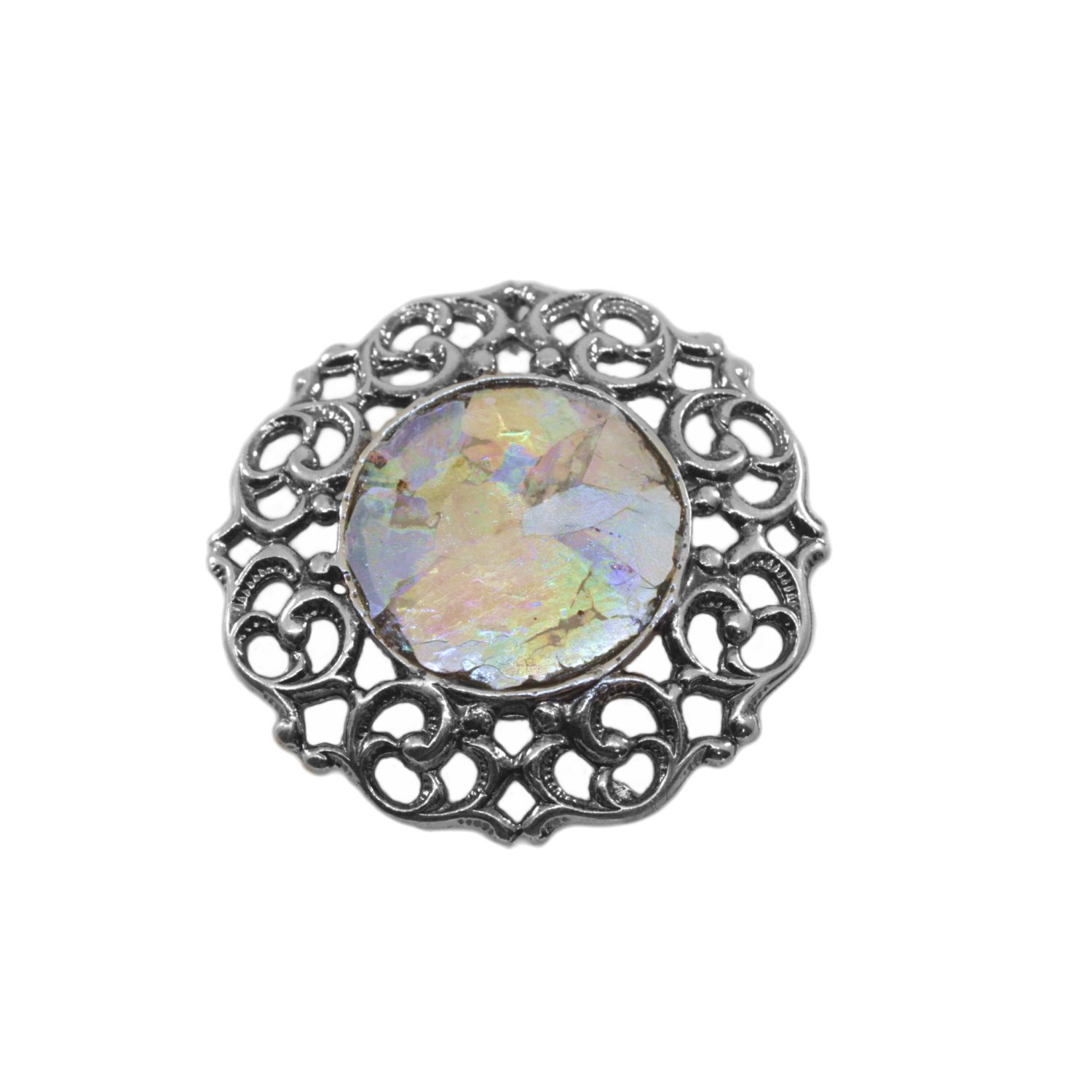 Ancient Roman Glass Pin or Pendant Filigree Multicolor Sterling Silver by Roman Glass Company