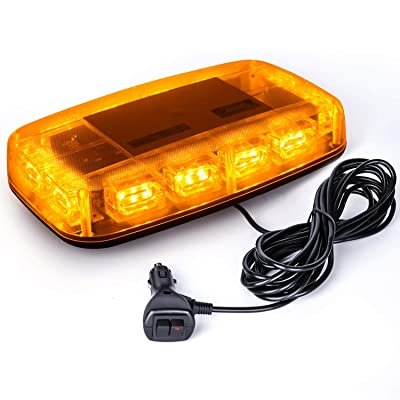 VKGAT 36 LED Roof Top Strobe Lights, Emergency Hazard Warning Safety Flashing Strobe Light Bar for Truck Car, Waterproof and Magnetic Mount 12-24V (Amber): Automotive