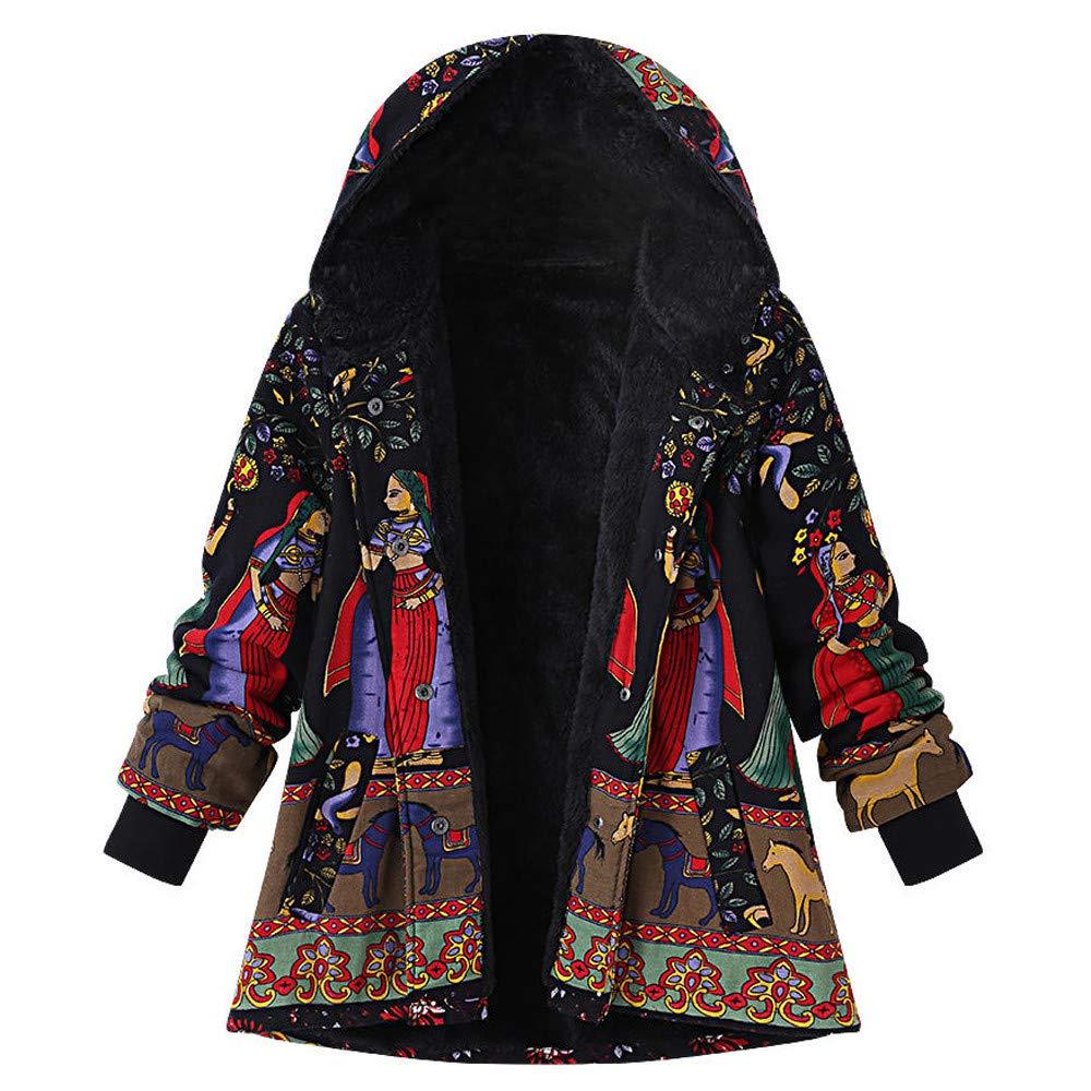 Vintage Coats Women Outwear Traditional Totem Print Hoodie Oversize Folk-Custom Coat Litetao