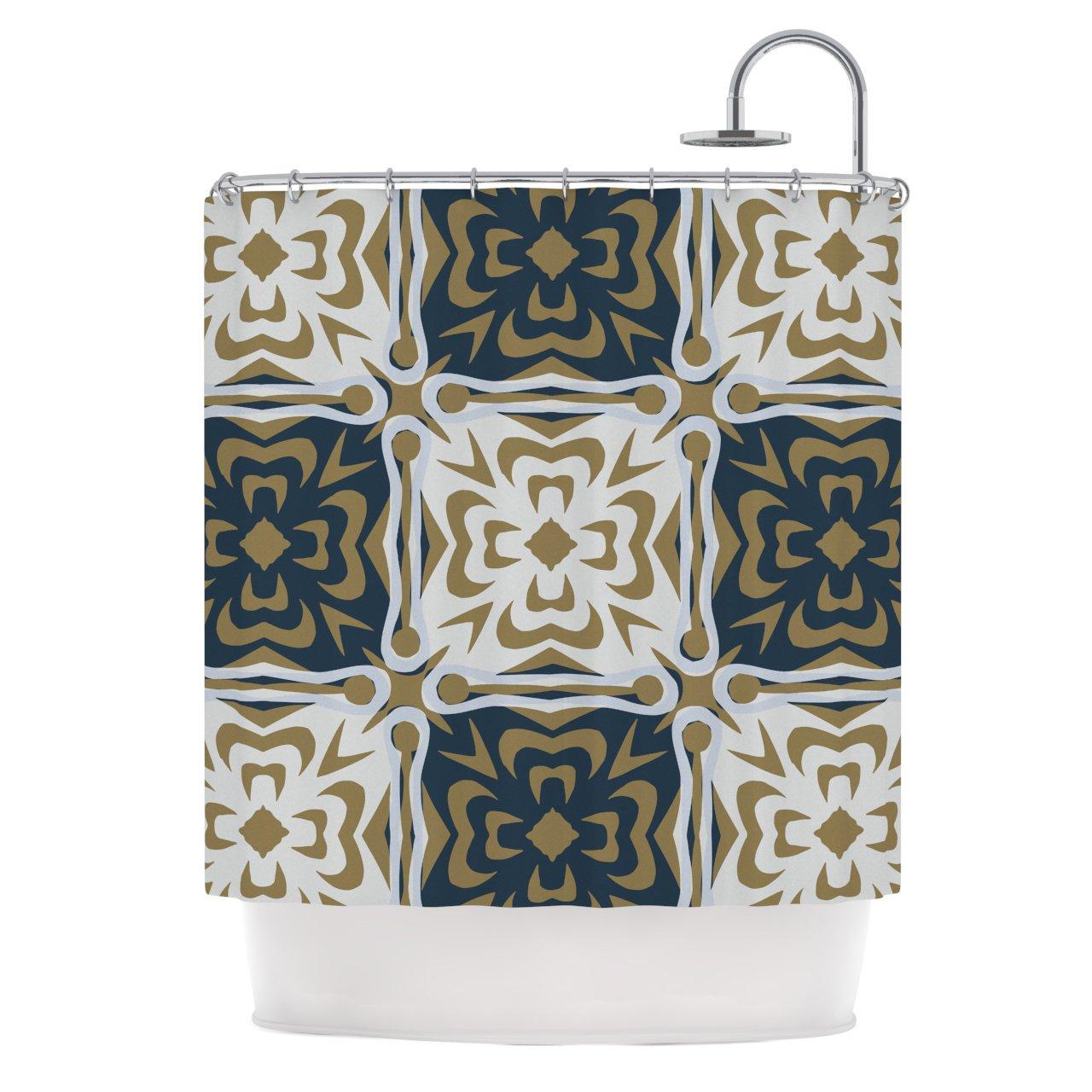 69 x 70 Shower Curtain Kess InHouse Maria Bazarova Blue White Flowers Abstract Beige