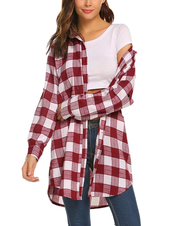 Unibelle Damen Hemd Langarmshirt Kariertes Hemd Karohemd Hemdkleid Blusenkleid Oversize Cardigan Top Shirtkleid Karo Kleid