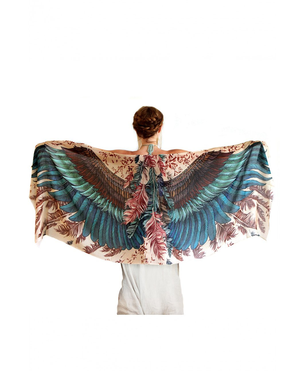 Bird Feathers Scarf, Silk & Cashmere Exotic Feathers Women's Scarf, Wrap by Shovava (Image #3)