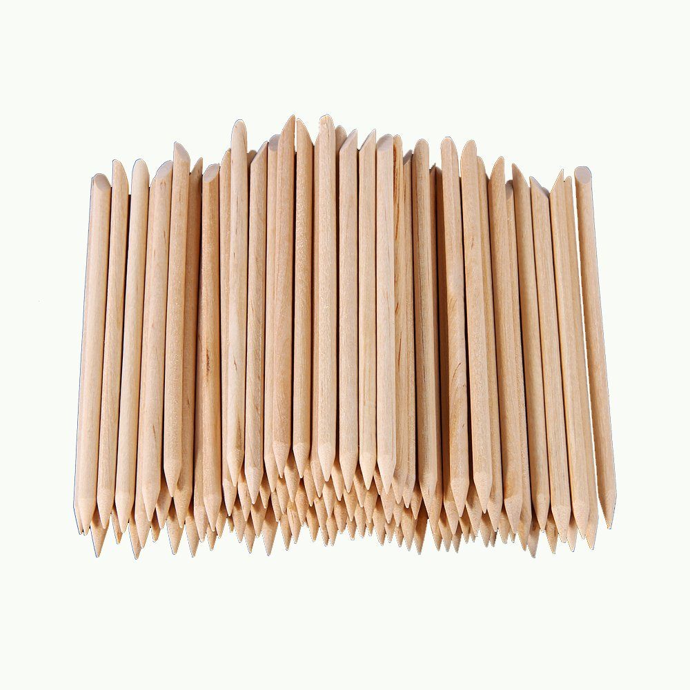 100 PCS Nail Art Polish Orange Wood Stick Cuticle Pusher Remover ...