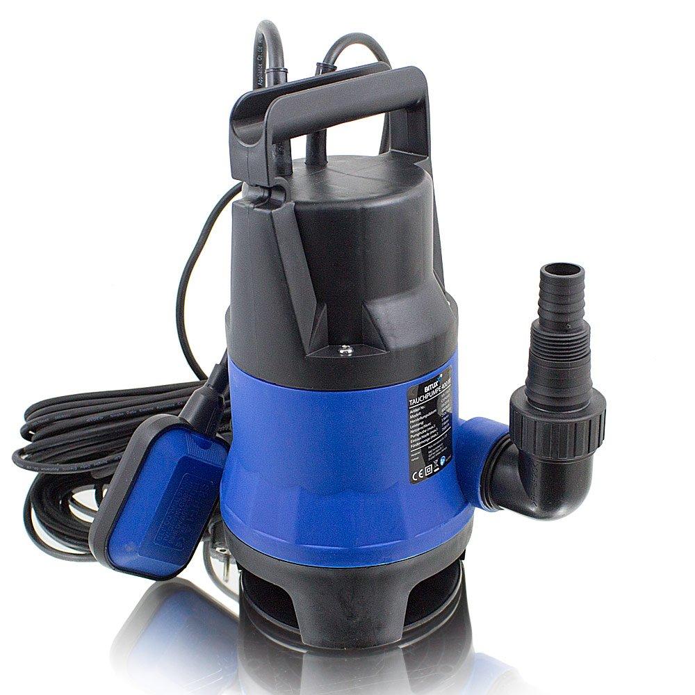 BITUXX® 400W Tauchpumpe für Brunnen Zisterne Bewässern Garten Regentonne Schmutzwasser Bis 7500 Liter/h 1, 0-1, 5 Zoll Förderhöhe 5 Meter MS-Point