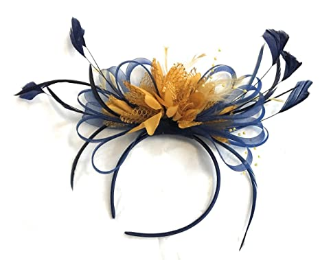 Navy Blue   Mustard Yellow Fascinator on Headband AliceBand UK ... 742ed8adad6c