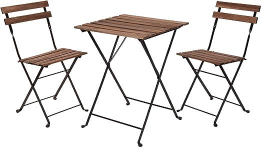 Conjunto de muebles de jardín de madera, 2 sillas y mesa de metal – Juego de muebles de balcón – Silla plegable: Amazon.es: Jardín