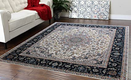 Masada Rugs Traditional Floral Square Area Rug Non Slip Backing Washable 6 Feet 7 Inch X 6 Feet 7 Inch Square