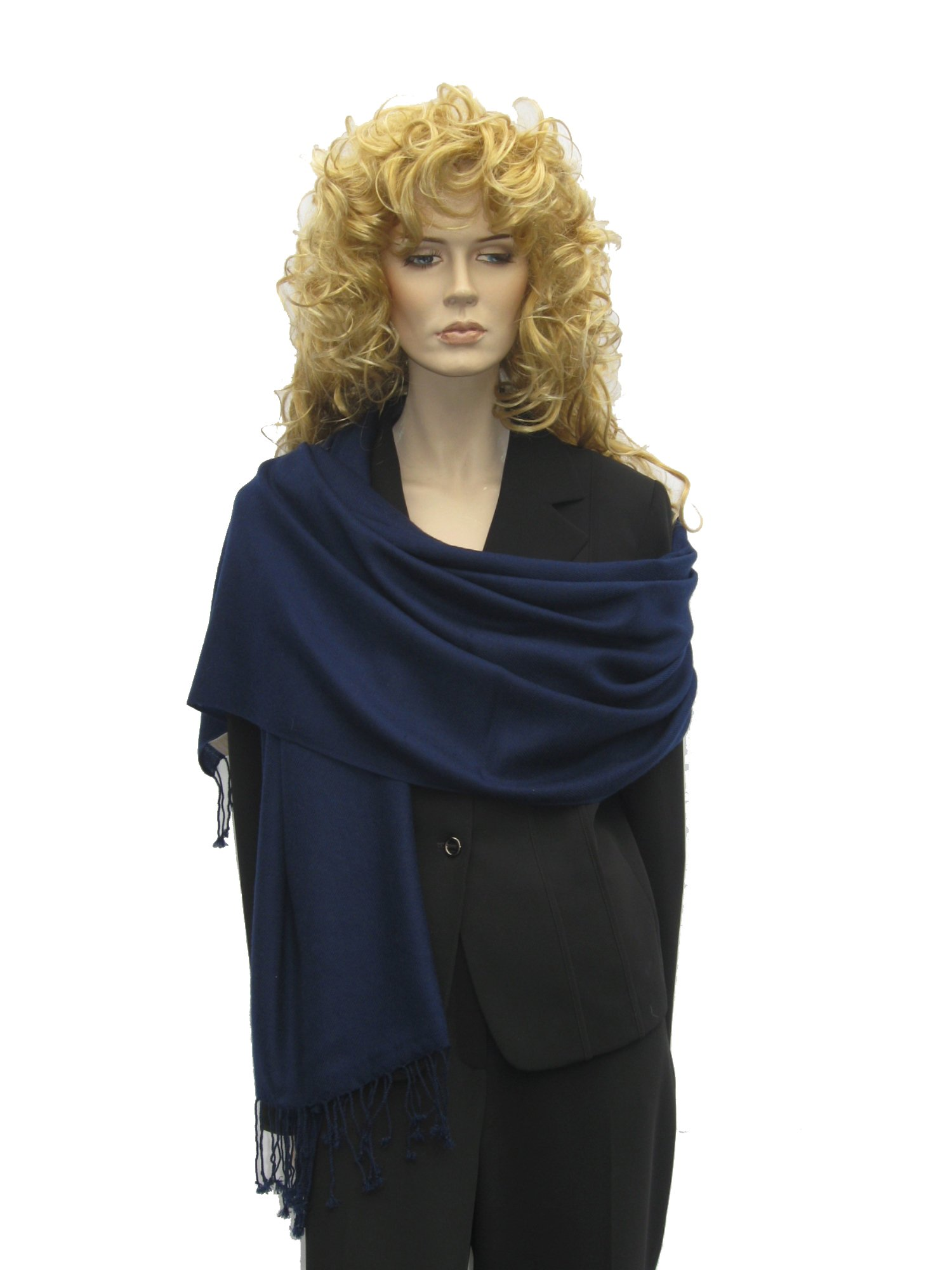 Cashmere Pashmina Group: Cashmere Pashmina Scarf/Shawl/Wrap (3-Ply Solid colors) - Inky Navy