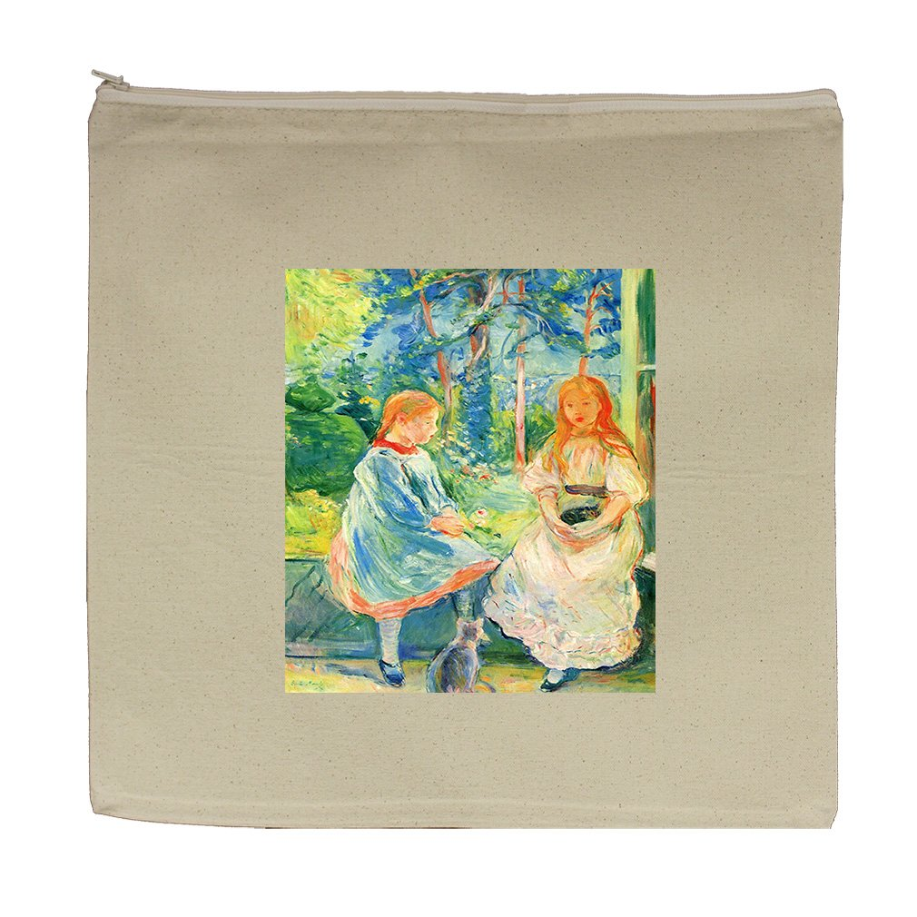Two Girls By The Window (Morisot) Canvas Zipper Tote Bag Makeup Bag
