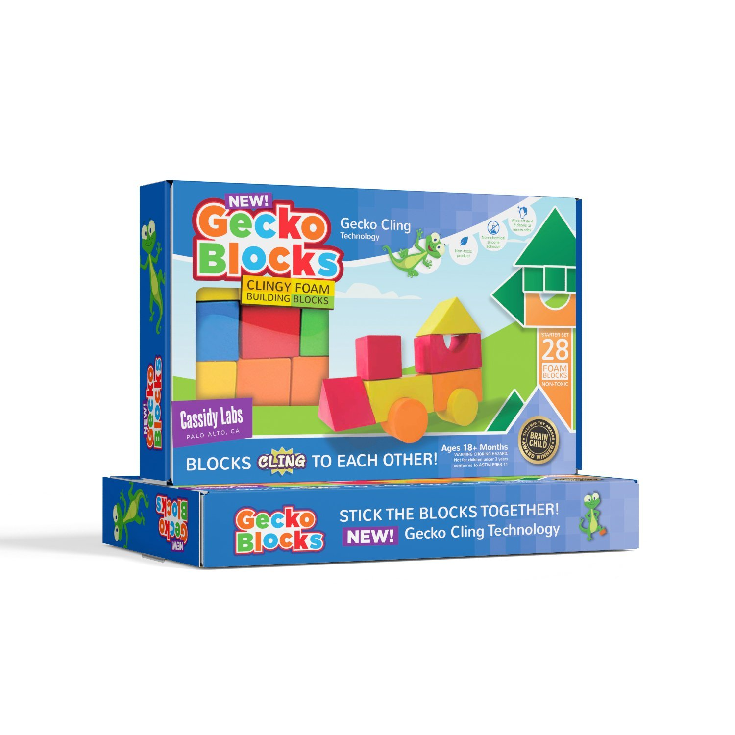 Gecko Blocks Sticky Block Construction Toy for Kids Works in Bath and on Windows