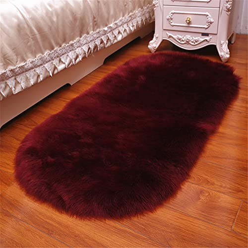 FOLWEP Faux Fur Accent Rug Oval Shag Sheepskin Area Rug For Kids Room Decor 4ft x 6ft, Burgundy