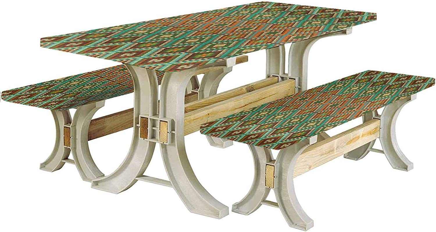 LCGGDB Earth Tones Picnic Table & Benches Cover,Traditional Mexican Design with Folkloric Accents Geometric and Retro Styled 72