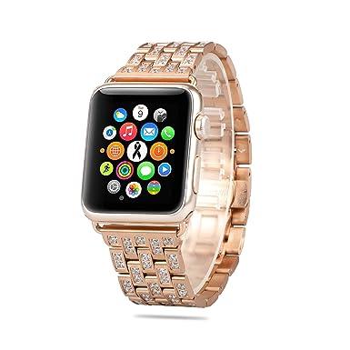 AWSTECH- Correa para Apple Watch, Oro Rosa de Lujo, con Purpurina de Cristal