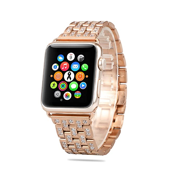 AWSTECH- Correa para Apple Watch, Oro Rosa de Lujo, con ...