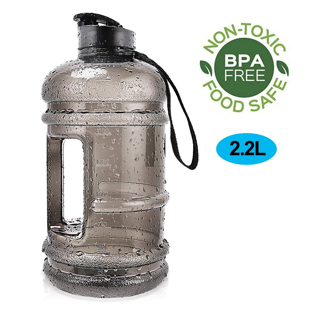 ENINE 2.2L Large Sport Water Bottle BPA Free Plastic Big Capacity Leakproof Water Jug Container with Carrying Loop Fitness for Camping Training Bicycle Hiking Gym Outdoor Sports (Black)