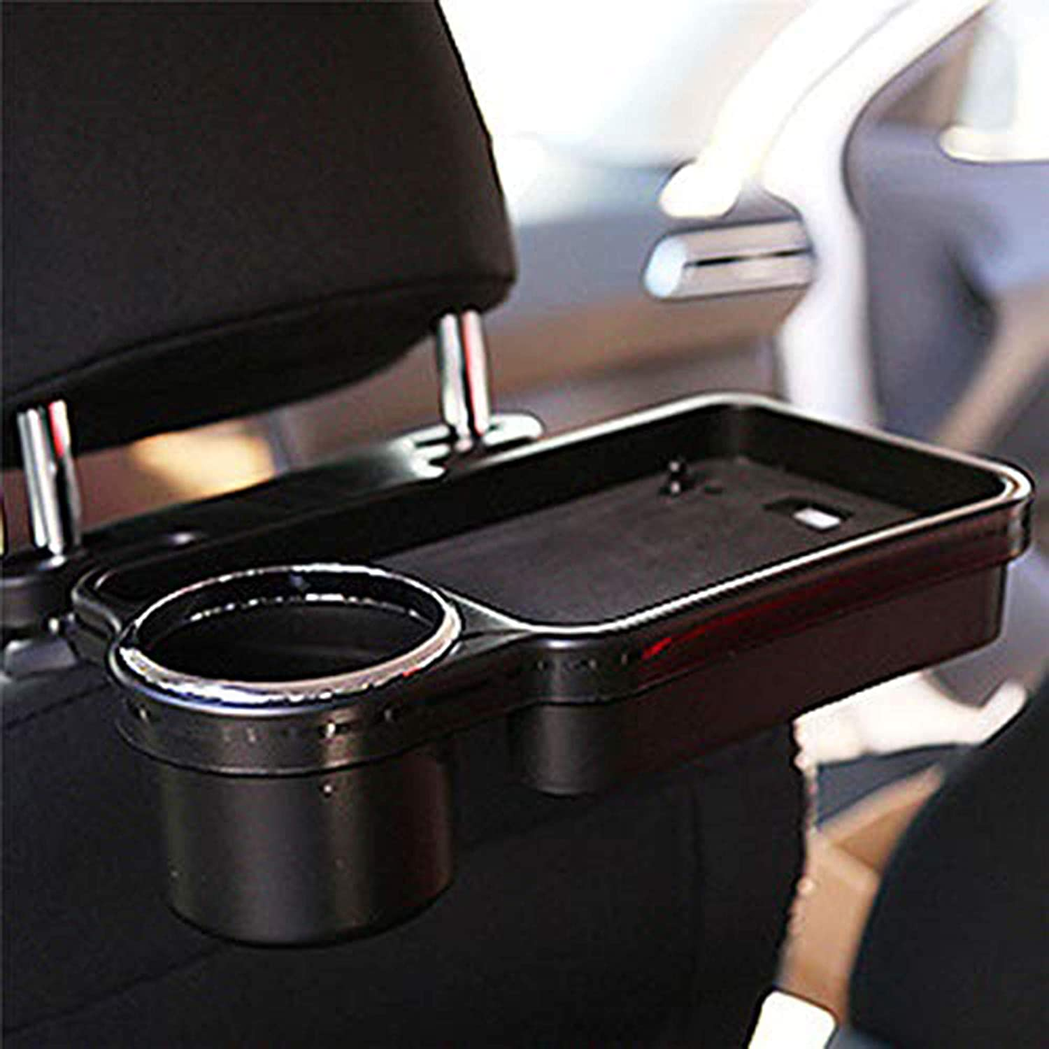 Car Back Seat Organizer with Tray, Universal Portable Foldable Auto Headrest Drink Holder Stand Food Tray