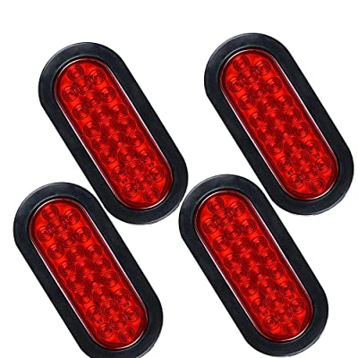 "NPAUTO 4Pcs 6"" Oval Trailer Tail Lights 24 Red LED Stop Turn Brake Lights Waterproof Flush Mount Tail Lights for RV Jeep Truck: Automotive"