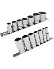 "Whitworth BSF BSW 3/8"" Drive Shallow And Deep Sockets 14pc 12 Sided Bi-Hex"